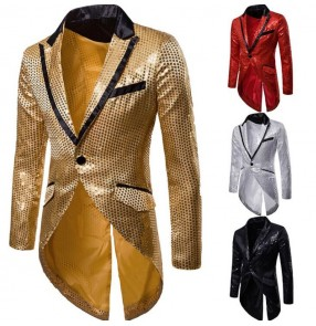 Men's jazz dance coats red black silver paillette modern dance singers night club pole dance host magician stage performance blazers jackets tops