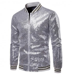 Men's jazz dance jacket paillette gold blue red silver hiphop modern dance stage performance host gogo dancers singers host night club dance short coats