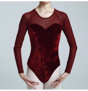 Women's velvet latin ballroom dance bodysuits for female ballet gymnastics practice modern dance leotards jumpsuits