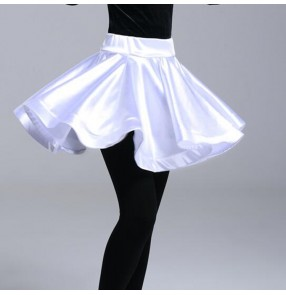 Girls children latin dance skirts children white green red  stretchable satin practice gymnastics rumba salsa dance skirts