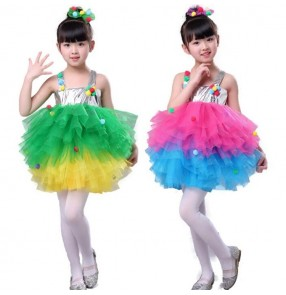 Children modern dance street singers host dance princesses dress rainbow colored flower girls host chorus t show dance costumes dress