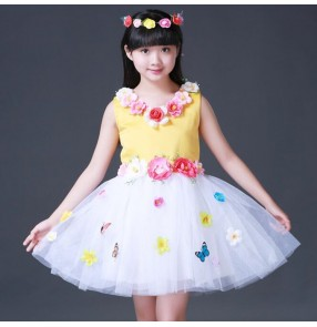 Girls princess modern jazz dance dresses fairy flower girls stage performance chorus host singers dance tutu skirt dresses