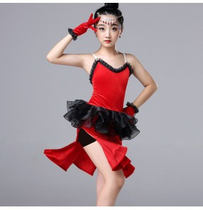 Girls latin dance dresses kids children red velvet competition stage performance rumba samba chacha salsa dance skirt dresses