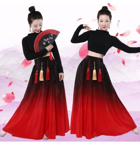 Women's red gradient Chinese classical dance dresses Chinese modern dance folk dance dresses ancient traditional fan dance costumes