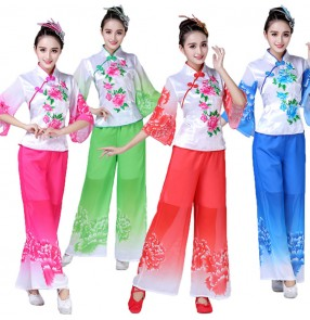 Women's chinese folk dance costumes pink red blue ancient traditional yangko stage performance umbrella fan dance dresses