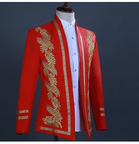 Men's jazz dance blazers male red royal blue colored chorus jackets singers host stage performance coats tops