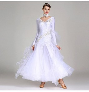 Competition ballroom dresses flamenco dress for women female girls wine dark green turquoise white embroidered waltz tango dance skirt dresses