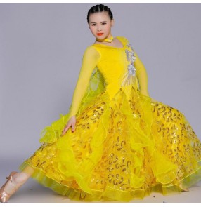 Custom size women's ballroom dance dresses competition professional girls waltz tango dancing skirts costumes dresses