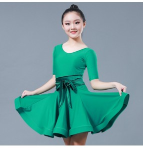 Girls latin dance dresses green professional school competition ballroom samba chacha rumba dance skirts dress costumes