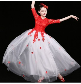 Women's modern dance dresses lace red with white singers chorus stage performance classical dance fairy cosplay princess dresses