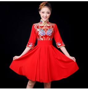 Women's Chinese folk dance dresses red colored oriental dragon princess stage performance chorus drummer professional dance dress