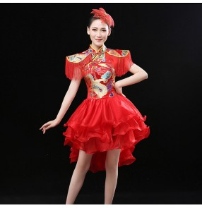 Women's Chinese folk dance dress dragon oriental drummer stage performance professional singers square dance dress costumes