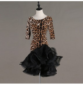 Women's latin dance dresses  leopard sexy stage performance professional ballroom salsa chacha rumba dance skirts dress