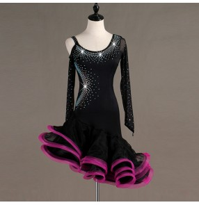 Women's latin dance dresses black with pink female rhinestones competition stage performance salsa rumba chacha dance skirt dresses