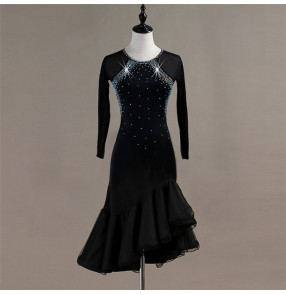 Women's latin dance dresses rhinestones professional competition salsa chacha rumba dance skirts costumes dresses