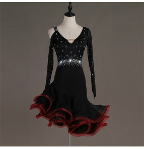 Women's black with red latin dance dresses rhinestones salsa chacha rumba latin dance costumes skirt dress