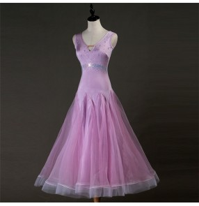 Women's children ballroom dance dresses waltz tango violet competition professional dancing dress skirts