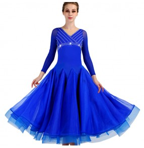 Women's ballroom dance dresses girls waltz tango flamenco competition professional royal blue dance skirt dresses