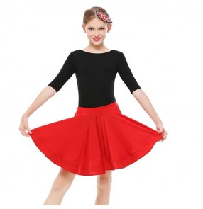 Girls latin dance dresses black with red stage performance salsa rumba chacha dance skirts professional leotard top and skirts