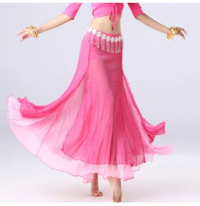 Women's belly Indian oriental queen dance skirts female stage performance  professional belly dance practice skirts costumes with waist chain