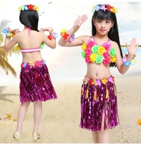 Children hula Hawaiian dance skirts outfits flower grass dresses beach stage performance girls party dance cosplay costumes