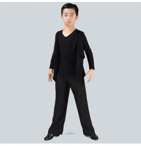 Boy's latin ballroom dance costumes children black grey flamenco waltz tango chacha dance tops shirts and wide leg pants outfits