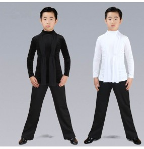 Boy's latin ballroom dance tops and pants children white black stage performance competition chacha rumba waltz tango dance shirts and long pants