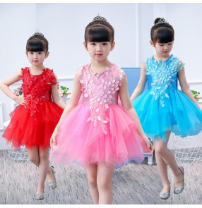 Children modern dance dress red pink blue princess flower girls cosplay jazz singers chorus stage performance costumes