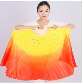Women's chinese yangko ancient classical dance fans orange yellow gradient colored stage performance fan dance fans