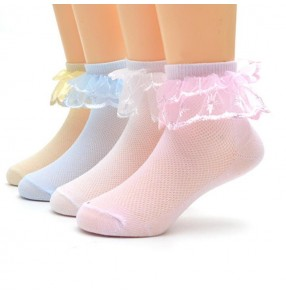 Children kids modern dance lace short socks ballet latin ballroom stage performance lace dance socks one pair