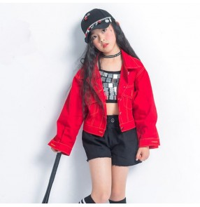 Girls kids hiphop jazz street modern dance costumes outfits stage performance gogo dancers dancing vest and coats and shorts