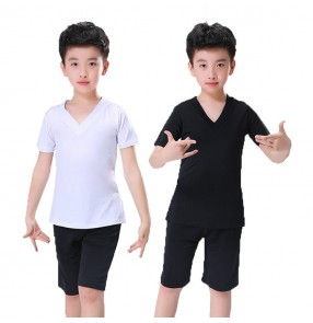 Boy's latin dance tops and shorts kids children white and black stage performance practice exercises modern dance costumes