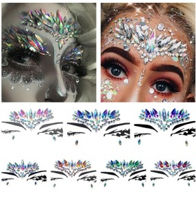 Women's stage performance jazz night club bar modern dance crystal face sticker masquerade cocktail party cosplay dance face stickers