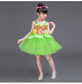 Children princess dresses jazz singers chorus green spring stage performance dresses modern dance costumes for girls baby dance outfits