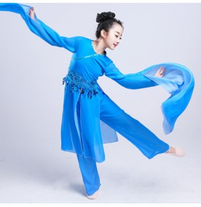 Chinese folk dance costumes for kids girls ancient traditional fairy water sleeves stage performance yangko fan dance costumes dresses