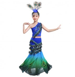Modern dance dresses for kids children girls school peacock belly dance stage performance drama cosplay dreses