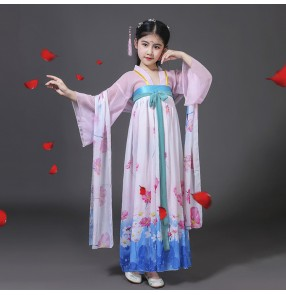 Chinese folk dance dresses for kids girls hanfu princesses fairy stage performance drama cosplay costumes