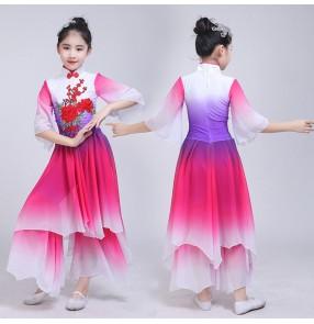 Chinese folk dance costumes kids girls children ancient traditional fairy stage performance yangko fan umbrella dance dress costumes