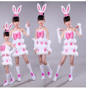 Modern dance rabbit dance dresses for kids girls children baby stage performance anime drama cosplay costumes