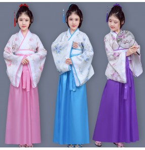 Kids chinese folk dance costumes hanfu dresses ancient traditional drama cosplay photography dancing robe and costumes