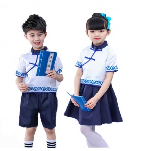 Chinese folk dance costumes dresses kids girls boys ancient traditional hanfu dresses Confucius school drama cosplay clothes dress
