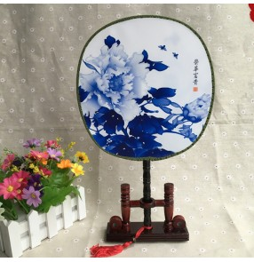 Women's girls Chinese folk dance fans princess blue rose Chinese dress show performance hand round fans