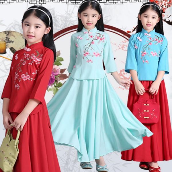 89634b439 Girls chinese folk dance dresses qipao traditional photography performance  hanfu fairy drama princess cosplay dresses