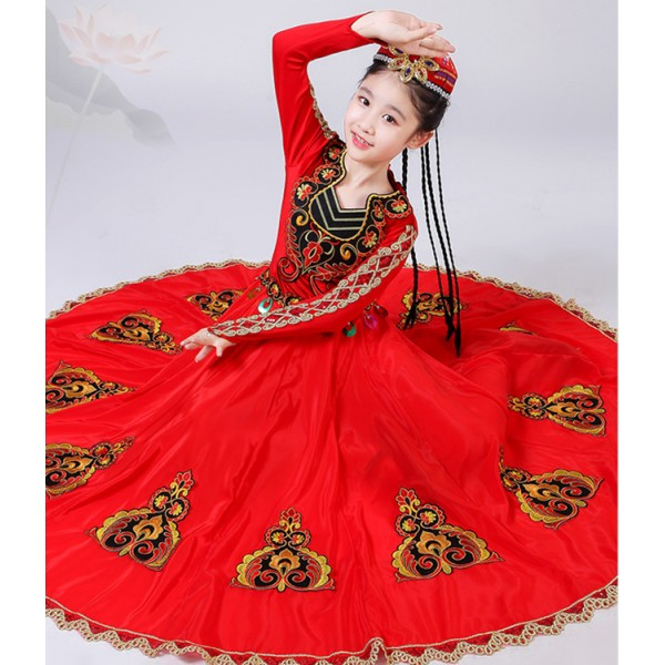32a738cc8 Girls Chinese folk dance dress xinjiang Uygur minority Belly stage  performance dance costumes with hat