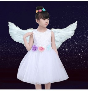 Girls jazz modern dance princess dress kids children white singers angel fairy drama cosplay dresses costumes