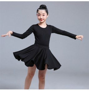 Kids latin dress girls black colored ballroom salsa rumba chacha dance skirts costumes dresses