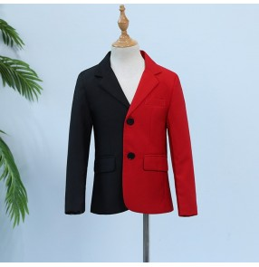 Boy jazz dance coats blazers kids flower boys host piano drummer stage performance coats tops blazer