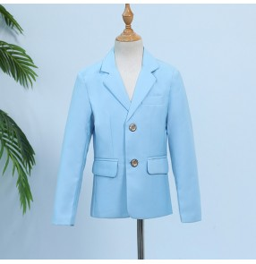 Boy jazz modern dance host blazer flower boys kids wedding party piano singer performance blazer coats