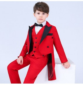 Boy jazz magician host singers tuxedo tops kids children performance costumes tuxedo tops bow shirts and vest and pants