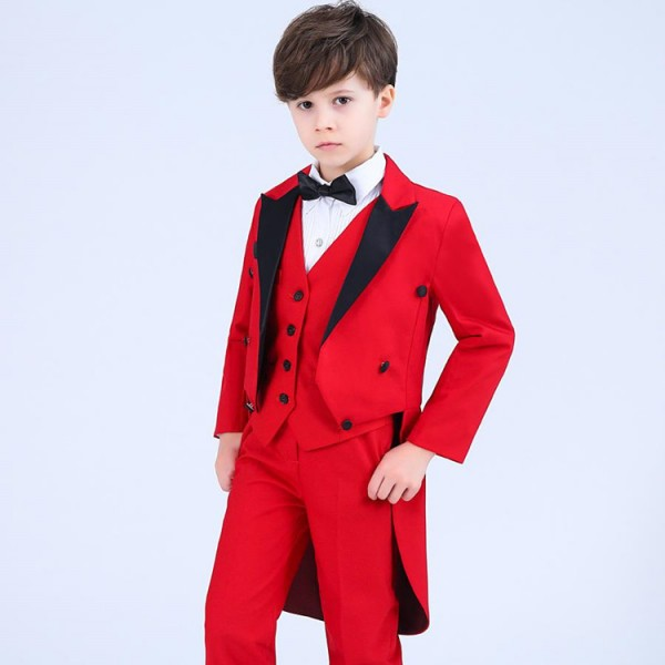 9d7cd4ad99 Boy jazz magician host singers tuxedo tops kids children performance  costumes tuxedo tops bow shirts and vest and pants